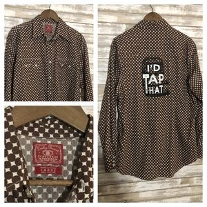 """Lucky Brand Pearl Snap """"I'd tap that"""" shirt."""